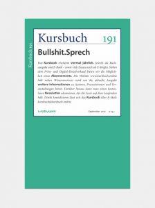 Kursbuch 191 - Bullshit.Sprech, Sept. 2017