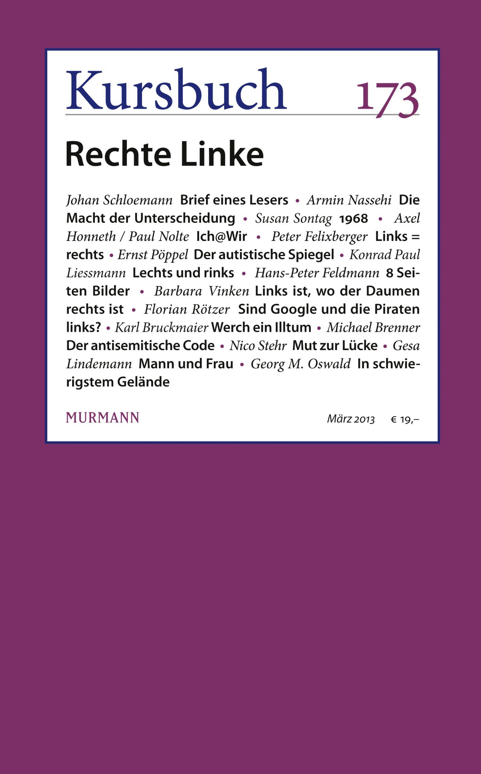 Kursbuch 173 – Editorial