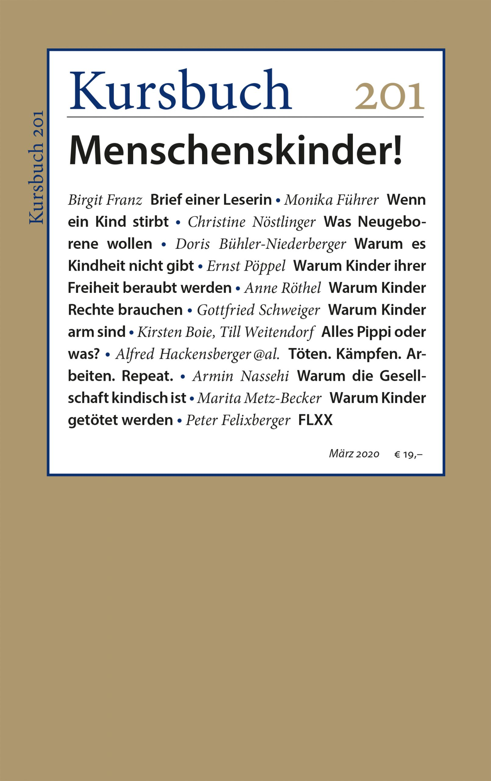 Kursbuch 201 – Editorial